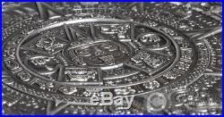 AZTEC CALENDAR STONE Archeology Symbolism 3 Oz Silver Coin 20$ Cook Islands 2018