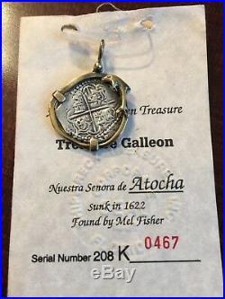 Antique Atocha Shipwreck Spanish Silver Treasure Medallion/Coin, Bezel/Pendant