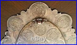 Antique Prussian German 800 Silver Inlaid Coin Thaler Presentation Tray 1841