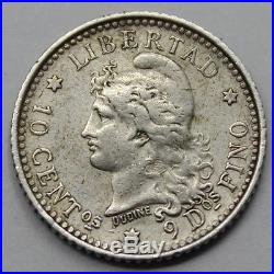 Argentina 1881 Libertad 10 cents centavos Silver Coin key Date very Rare VF+