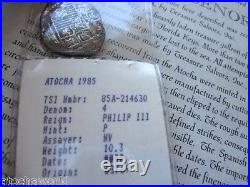 Atocha 4 Reales Grade 2 silver coin with original Certificate of Authenticity