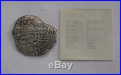 Atocha shipwreck 8 Reales silver cob coin Potosi P/T 1618-21 Fisher 22.4 grams