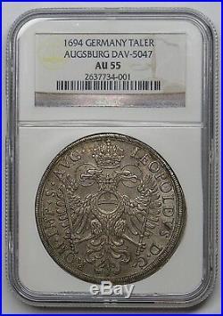 Augsburg 1694 River Gods Silver Thaler NGC AU55