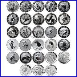 Australia 1990-2017 Complete Kookaburra 28 Coin Collection $1 Silver Dollar Set