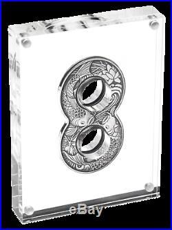 Australia 2019 Figure Eight Shape Koi Fish 2oz $2 Silver Antiqued Coin