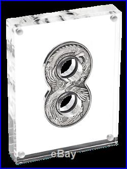 Australia 2020 Figure Eight DRAGON AND PHOENIX 2oz $2 Silver Antiqued Coin