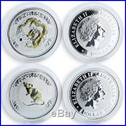 Australia set of 12 coins Lunar calendar Series I Gilded silver 1 oz 1999-2010
