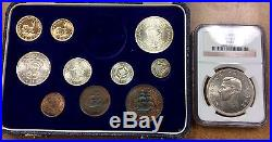 BJSTAMPS 1952 SOUTH AFRICA 11 coin PROOF SET GOLD 1-2 RAND, 5SH NGC PF65