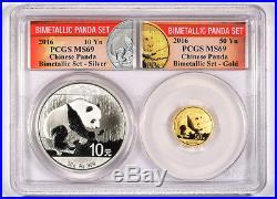 BLOWOUT! 2016 Panda 50Y Gold and 10Y Silver Bimetallic Collectors Set MS69