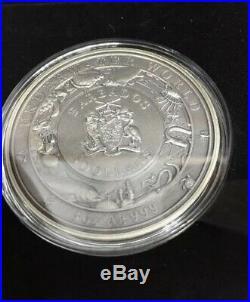 Barbados 2018 3 Oz Silver $5 GREAT WHITE SHARK UNDERWATER WORLD Coin