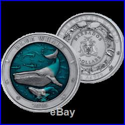 Barbados 2020 5$ Blue Whale Underwater World 3oz Silver Coin