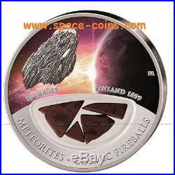 Bjurböle METEORITE coin! $10 Fiji, Cosmic Fireballs, 2013, Bjurbole Finland