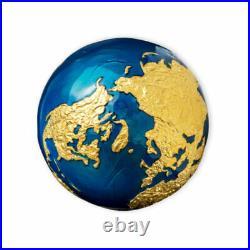 Blue Marble 3 oz Brilliant uncirculated Silver Coin 5$ Barbados 2021