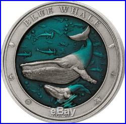Blue Whale Underwater World 2020 3 Oz $5 High Relief Pure Silver Coin Barbados
