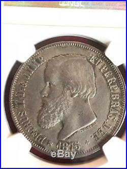 Brazil 1875 2000 Reis NGC MS-63