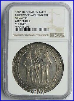 Brunswick-Wolfenbuttel 1690 Two Wildman Silver Thaler NGC AU
