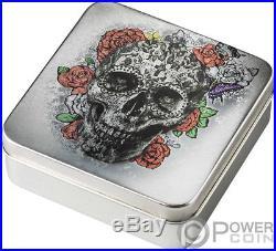 CATRINA DAY OF THE DEAD SKULL Dia Muertos Shape 1 Oz Silver Coin 5$ Palau 2018