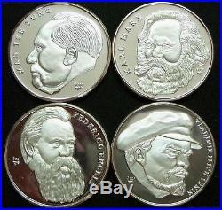 CENTRAL AMERICA 4 Coins 2002 Silver Proof Set Lenin Marx Engels Mao Tsetung