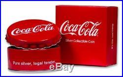 COCA-COLA BOTTLE CAP 2018 1 oz $2 PURE SILVER. 999 COIN FIJI IN STOCK
