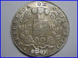 Chile 1845 Santiago 2 Real Condor Ij Silver South America