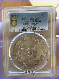 China 1898 Kiangnan Silver Dollar Coin PCGS AU Details Cleaned