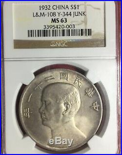 China 1932 three birds over junk $1 silver coin NGC-MS63