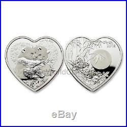 China 2018 Valentine Bamboo Panda 1 oz Silver Heart-shaped Proof with COA