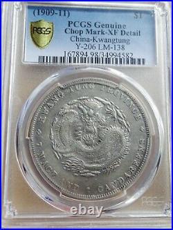 China Dollar, $1 Silver Dragon Kwangtung 1909-11, PCGS XF Details