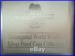 Cook Islands $50 Endangered World Wildlife Silver Proof Coin Collection, 24 Coin