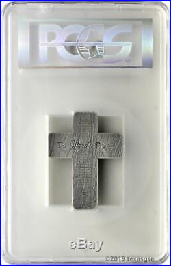 Crucifix 2oz. 999 Silver Antique Finish High Relief Medal PCGS MS70 First Day