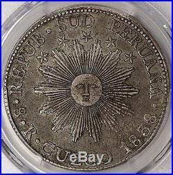 Cuzco South Peru 1838 Silver 8 Reales PCGS AU50