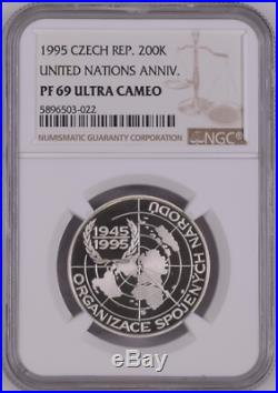 Czech Republic 200 Korun 1995 United Nations Wwii Ngc Pf69uc World Coin