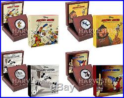 Disney Mickey Through The Ages 4-coin Set 1 Oz. Silver Coins With All Ogp