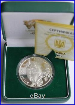 EAGLE OWL BUBO BUBO 2002 Ukraine 10 Hryvnia 1 Oz Silver Proof Coin Bird Fauna