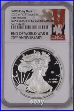 ERROR 2020 W End of World War II 75th American Silver Eagle V75 NGC PF69 WWII