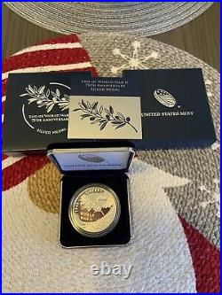 End of World War II 75th Anniversary 24-Karat Gold Coin & Silver Medal, On Hand
