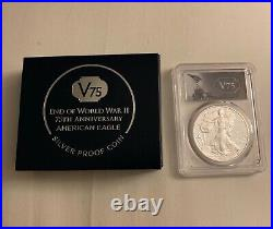 End of World War II 75th Anniversary American Eagle Silver Proof Coin- PCGS PR70