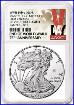 End of World War II 75th Anniversary American Eagle Silver V75, NGC PF70 PRESALE