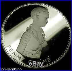 FEMME OUEME 1971 Dahomey 500 Francs. 999 Silver Proof African Coin HARD TO FIND