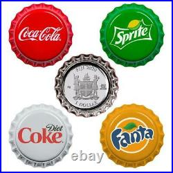 Fiji COCA-COLA FANTA SPRITE COKE-DIET Silver Coin $1 Bottle Cap Vending Machine