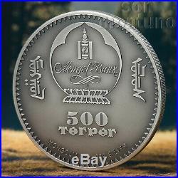 GOBI BEAR 2019 Mongolian Wildlife Protection 1 oz Antique Finish Silver Coin