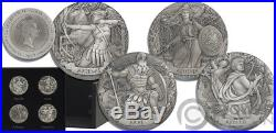 GODS OF OLYMPUS Set 12x2 Oz Silver Coins 2$ Cook Islands 2017
