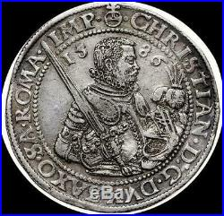 German States Saxony-Albertine 1586 thaler, old silver world coin HIGH GRADE
