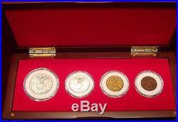 German WW 2 Collection Cherry Wood Display Box Set 4 Third Reich Coins