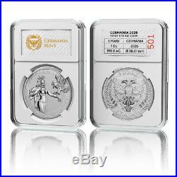 Germania 2020 5 Mark Germania 1 Oz 999.9 Silver BU Coin, FIRST STRIKE