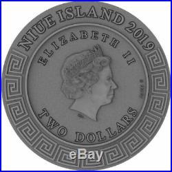 Hephaestus Greek Gods 2019 2 Oz Pure Ultra High Relief Silver Coin Niue