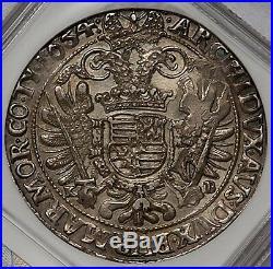 Hungary 1654 Ferdinand III Broad Silver Thaler NGC AU58
