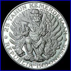 INDONESIA 1970 750 Rupiah Garuda Bird Large Silver Choice Proof Mtg=4950