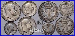 INi Great Britain, Edward VII, Maundy Set 1902, toned, PROOF, Matte, UNC