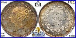 INi INDIA, Victoria, 2 ANNAS, 1841, Calcutta, Prid 115 TOP POP, PCGS MS 64